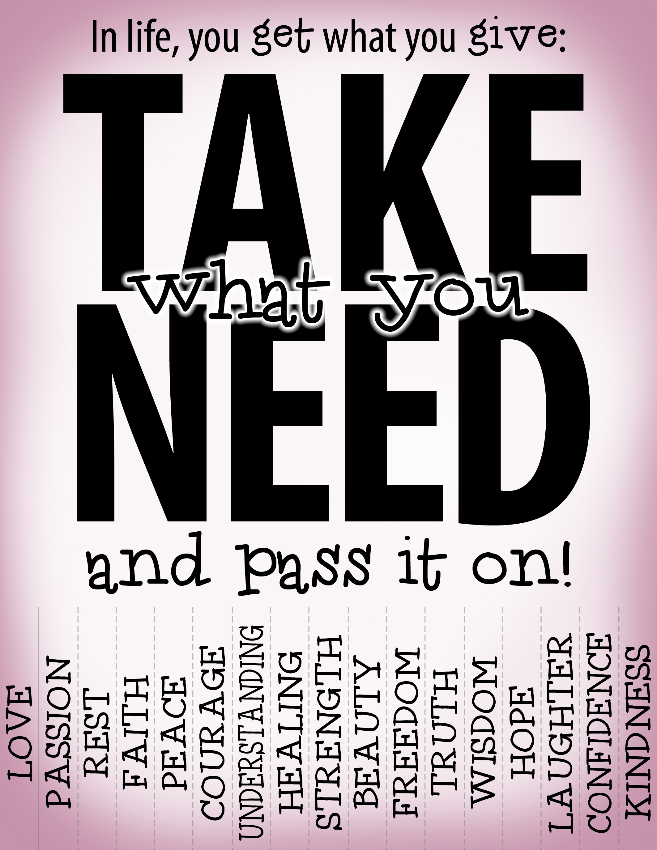 photograph about Take What You Need Printable titled Choose what your self will need Accidental Jedi